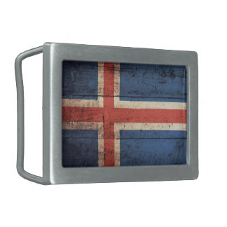 Bandera de madera vieja de Islandia Hebilla Cinturon Rectangular