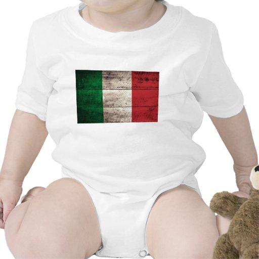 Bandera de madera vieja de Italia Camisetas