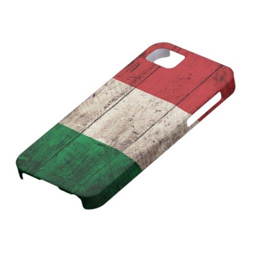 Bandera de madera vieja de Italia iPhone 5 Cárcasas