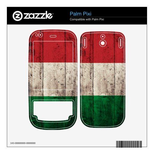 Bandera de madera vieja de Italia; Itali Calcomanía Para Palm Pixi