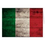 Bandera de madera vieja de Italia Tarjetas
