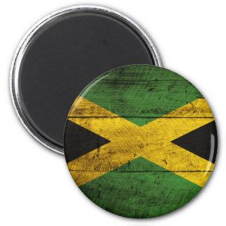 Bandera de madera vieja de Jamaica Imán Redondo 5 Cm