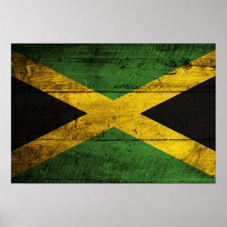 Bandera de madera vieja de Jamaica Impresiones