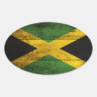 Bandera de madera vieja de Jamaica Calcomania De Ovaladas
