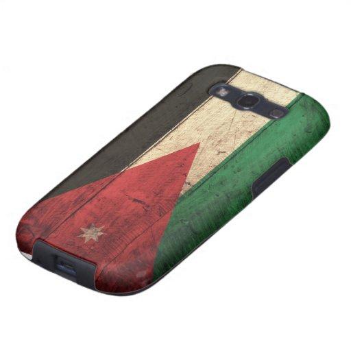 Bandera de madera vieja de Jordania Galaxy S3 Fundas