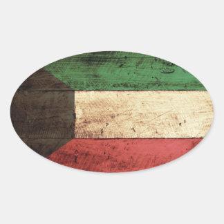 Bandera de madera vieja de Kuwait Pegatina Ovalada