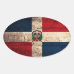 Bandera de madera vieja de la República Dominicana Colcomanias Ovaladas