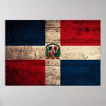 Bandera de madera vieja de la República Dominicana Póster