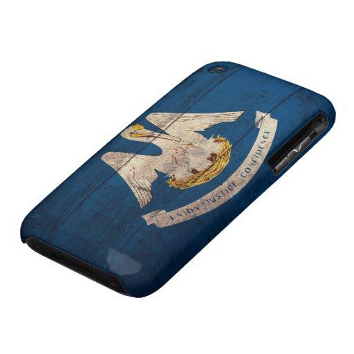 Bandera de madera vieja de Luisiana; iPhone 3 Case-Mate Cárcasas