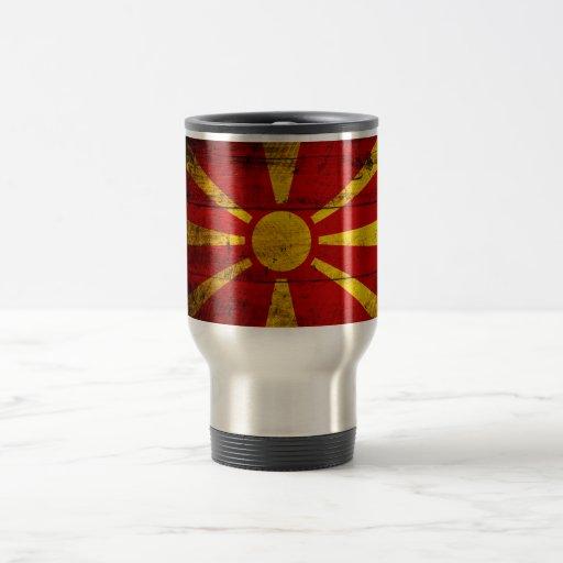 Bandera de madera vieja de Macedonia Taza De Viaje De Acero Inoxidable