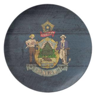 Bandera de madera vieja de Maine; Platos De Comidas