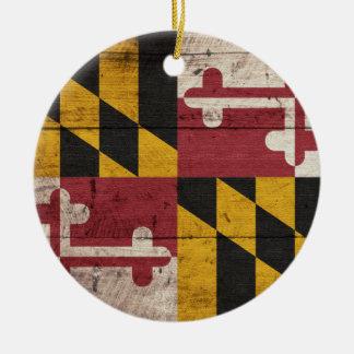 Bandera de madera vieja de Maryland Adorno Navideño Redondo De Cerámica