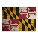 Bandera de madera vieja de Maryland Felicitaciones
