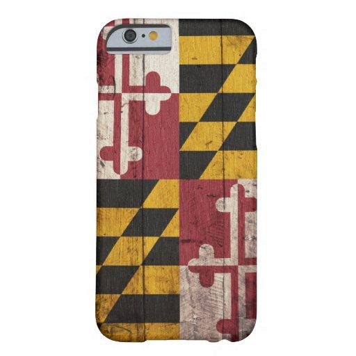 Bandera de madera vieja de Maryland Funda De iPhone 6 Barely There