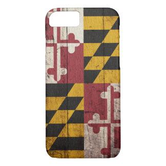 Bandera de madera vieja de Maryland Funda iPhone 7