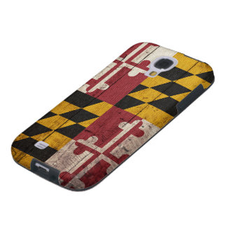 Bandera de madera vieja de Maryland Funda Para Galaxy S4