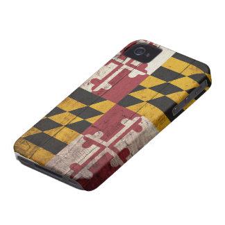 Bandera de madera vieja de Maryland iPhone 4 Case-Mate Funda