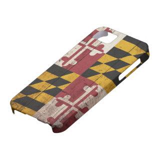 Bandera de madera vieja de Maryland iPhone 5 Carcasas