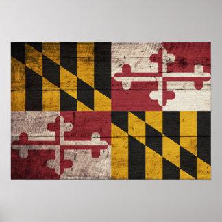 Bandera de madera vieja de Maryland Poster