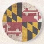 Bandera de madera vieja de Maryland Posavasos Para Bebidas