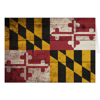 Bandera de madera vieja de Maryland Tarjeta Pequeña