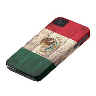 Bandera de madera vieja de México iPhone 4 Carcasas