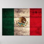 Bandera de madera vieja de México Póster