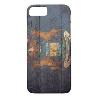Bandera de madera vieja de Michigan; Funda iPhone 7
