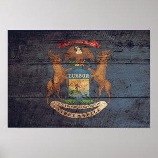 Bandera de madera vieja de Michigan Póster