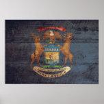Bandera de madera vieja de Michigan Posters
