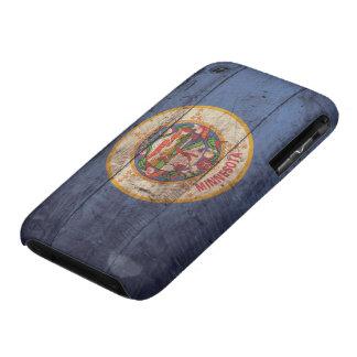 Bandera de madera vieja de Minnesota; Case-Mate iPhone 3 Funda
