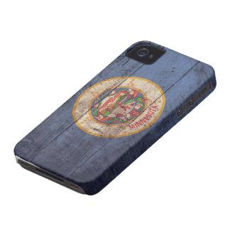 Bandera de madera vieja de Minnesota; Case-Mate iPhone 4 Coberturas