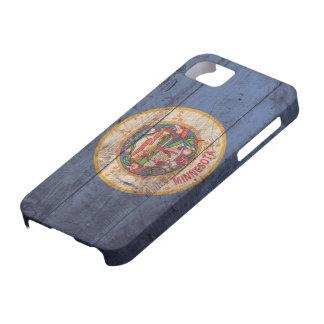 Bandera de madera vieja de Minnesota; iPhone 5 Fundas