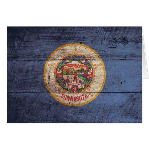Bandera de madera vieja de Minnesota; Tarjeta Pequeña