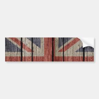 Bandera de madera vieja de moda fresca impresionan pegatina de parachoque