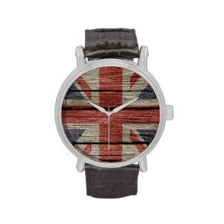 Bandera de madera vieja de moda fresca impresionan reloj