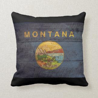 Bandera de madera vieja de Montana Cojines