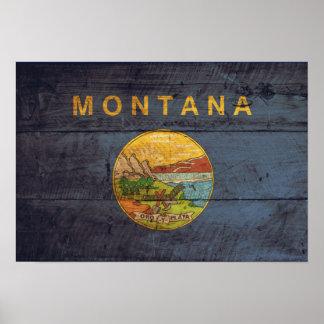 Bandera de madera vieja de Montana Posters