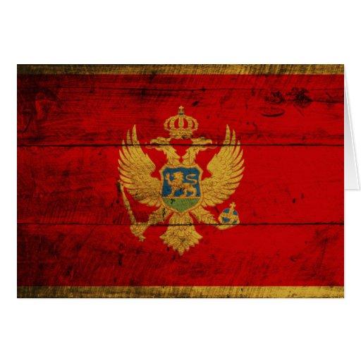 Bandera de madera vieja de Montenegro Tarjeta Pequeña
