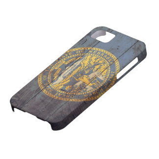 Bandera de madera vieja de Nebraska; iPhone 5 Case-Mate Cárcasas