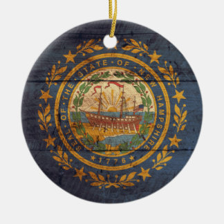 Bandera de madera vieja de New Hampshire; Adornos De Navidad