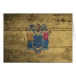 Bandera de madera vieja de New Jersey; Tarjeta Pequeña