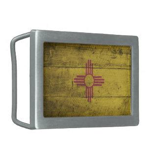 Bandera de madera vieja de New México; Hebilla Cinturon Rectangular