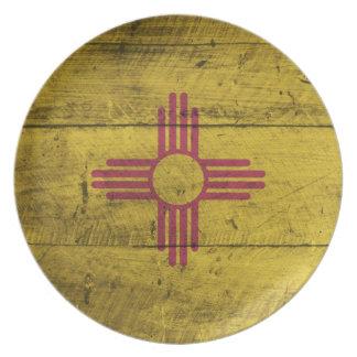 Bandera de madera vieja de New México; Plato Para Fiesta