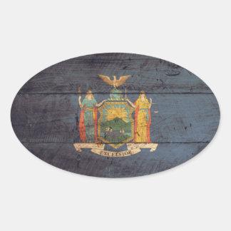 Bandera de madera vieja de Nueva York; Colcomanias Oval