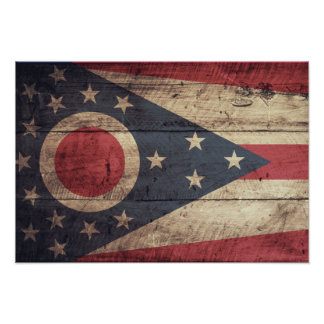 Bandera de madera vieja de Ohio; Poster