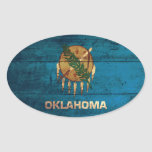 Bandera de madera vieja de Oklahoma; Pegatinas Ovaladas