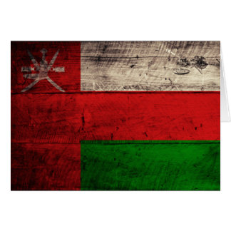 Bandera de madera vieja de Omán Tarjeta Pequeña