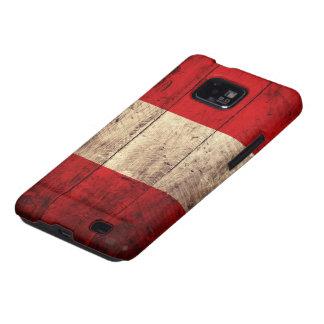 Bandera de madera vieja de Perú Samsung Galaxy S2 Fundas