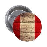 Bandera de madera vieja de Perú Pin Redondo De 2 Pulgadas